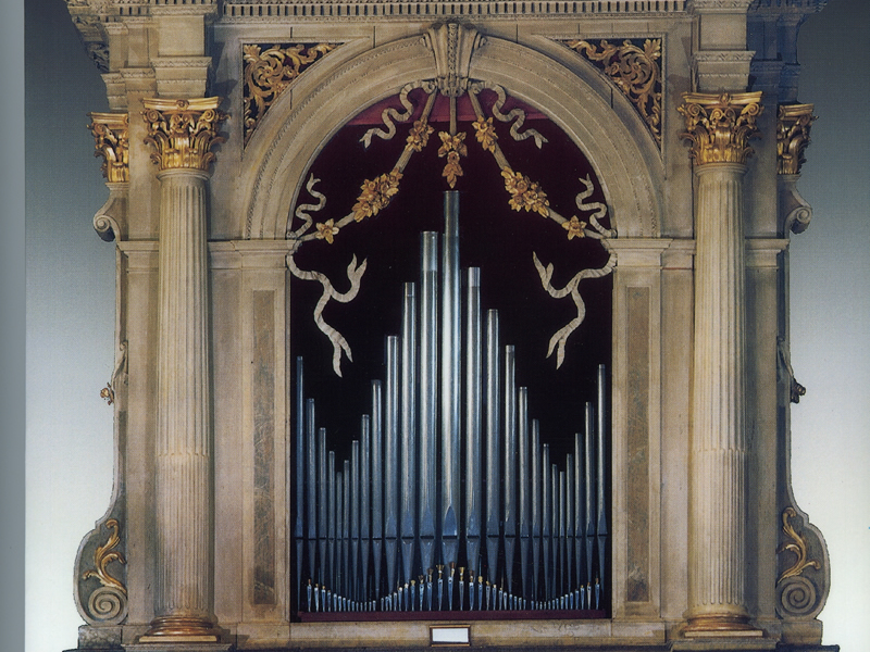 The largest surviving work by the famous organbuilder Girolamo Zavarise, of Verona, Italy.  The Parish Church of Isera (Trento), Italy, 1802. Restored in 1997.