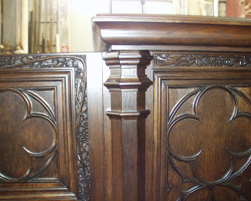 When requested, we make very elaborate console cabinets, with complex hand-carved details.
