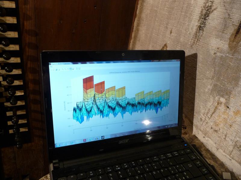 La trasformazione in immagine tridimensionale dello spettro sonoro, fatta in tempo reale. Sono visibili il fondamentale e ben dieci armonici superiori. Nella foto: lo spettro di una canna di Corno Inglese. Con questo innovativo software si possono analizzare separatamente l'attacco, il suono continuo e il finale del suono prodotto da qualsiasi canna.