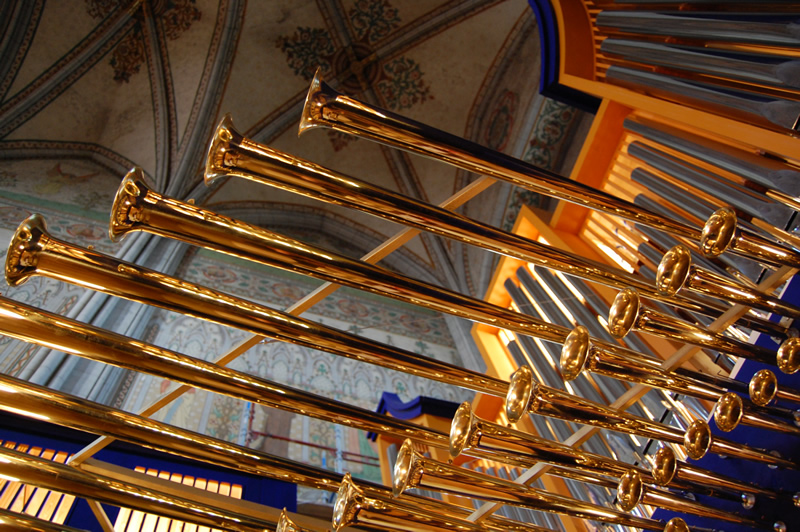 Cattedrale di Uppsala, Svezia - Le famose trombe in ottone dei Fratelli Ruffatti