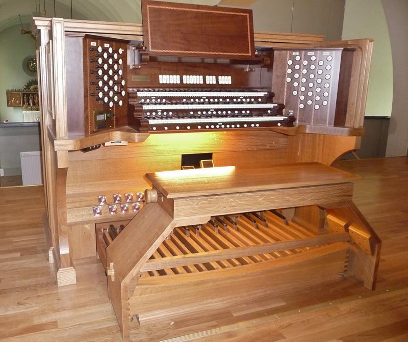 Consolle a tre tastiere con consolle concava e diritta  (B.D.O.)