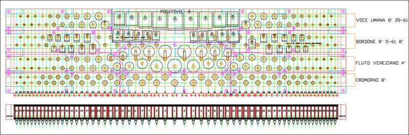 Il disegno di un somiere, realizzato a computer