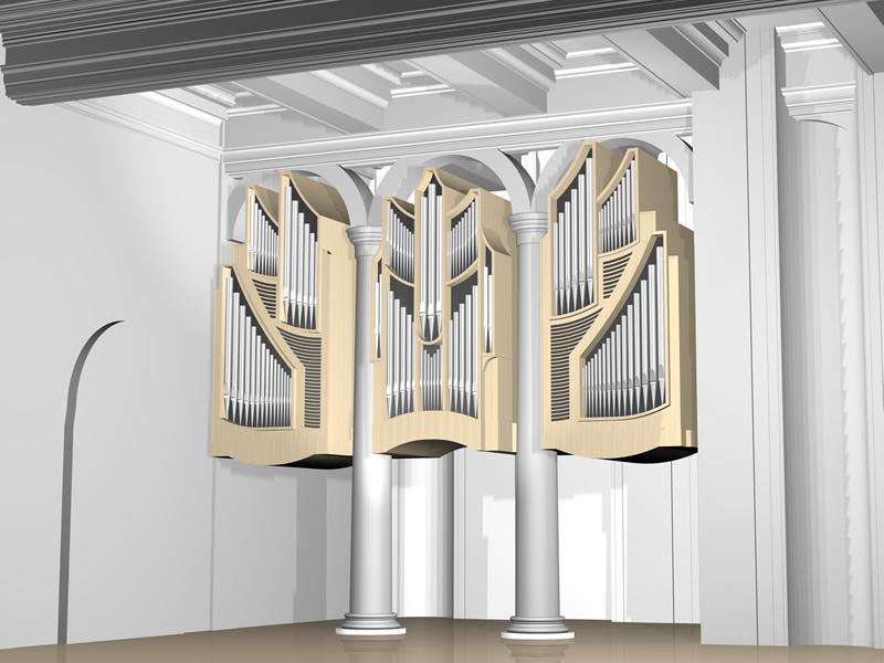 Rendering dell'organo a 3 manuali per la Cattedrale di Longford, Irlanda